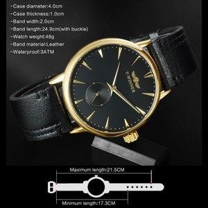 Image 5 - Mannen Mechanische Horloges Winnaar Top Luxury Brand Hand Wind Horloges Rvs Lederen Band Forsining Man Waterdichte Klok