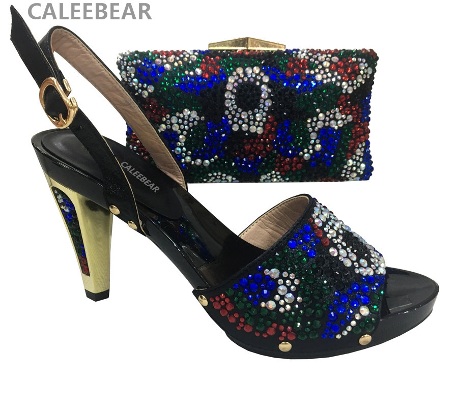 Black Color Italian High Heel Shoe with Matching Bags High ...
