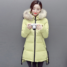 2016 Горячей продажи женщин зимнее пальто 6 цвета длинный отрезок с капюшоном сгущает меховым воротником куртки теплый корейской версии тонкий моды пальто
