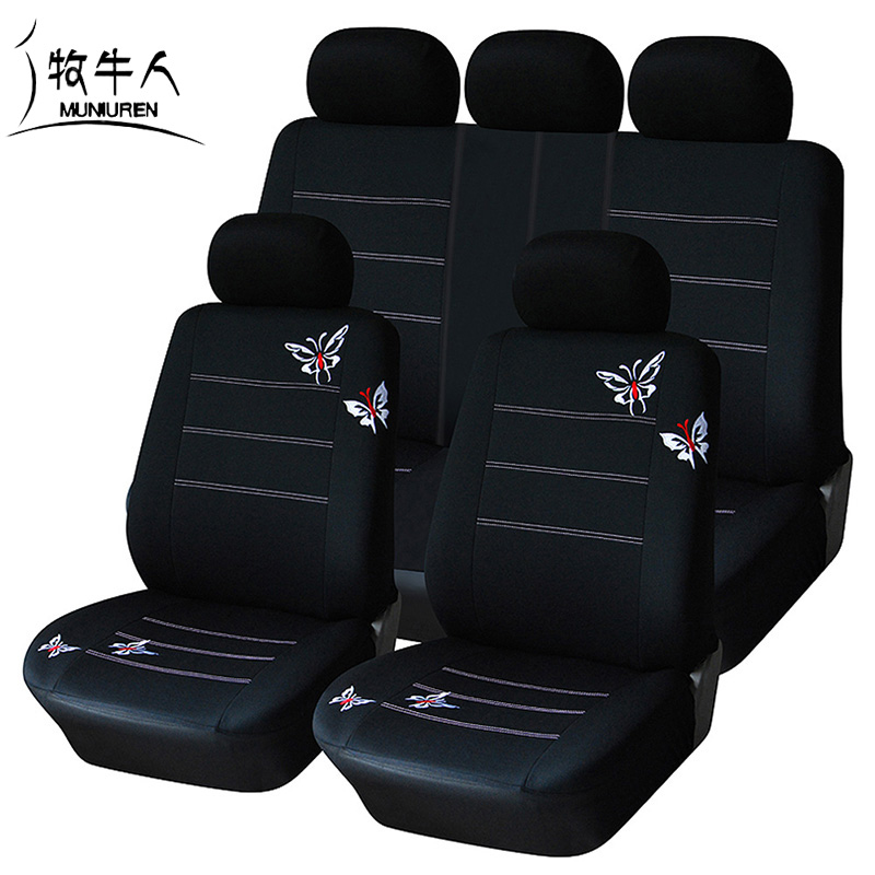 MUNIUREN Embroidered Butterfly Car Seat Cover Universal Fit Most Vehicles Seat Covers Interior Accessories Black