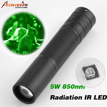 New hot Activefire 5W Torch 850nm Zoom Infrared Radiation IR LED Night Vision Flashlight Camping Light Hunting Lamp Flashlight