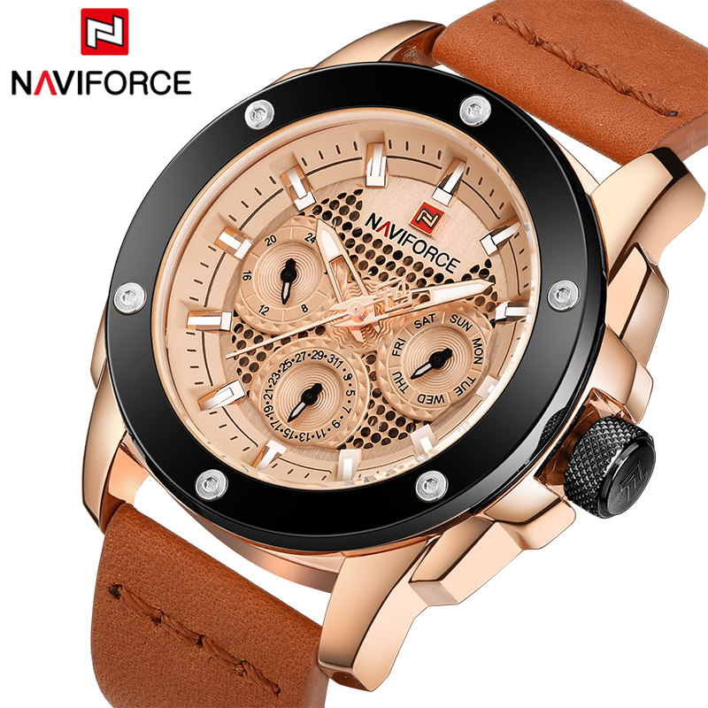 2018 NAVIFORCE Men's Sport Watches Luxury Brand Men Quartz Watch Leather Man Calendar Waterproof Wristwatches Relogio Masculino 2017 new top fashion time limited relogio masculino mans watches sale sport watch blacl waterproof case quartz man wristwatches