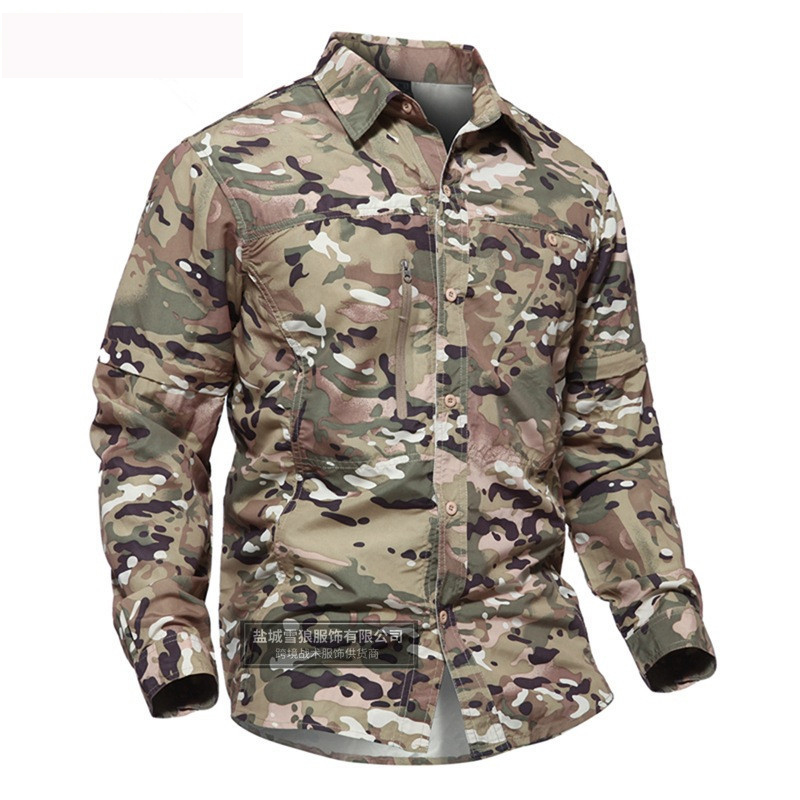 Men Summer Quick Dry Camouflage Sleeve Detachable Shirt Outdoor Training Breathable Removable Tactical Tops Hunting shirt