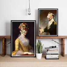 Flor véu retrato de mulher e soldado retro poster arte imprime, colagem surreal arte pintura da lona parede imagem decoração casa