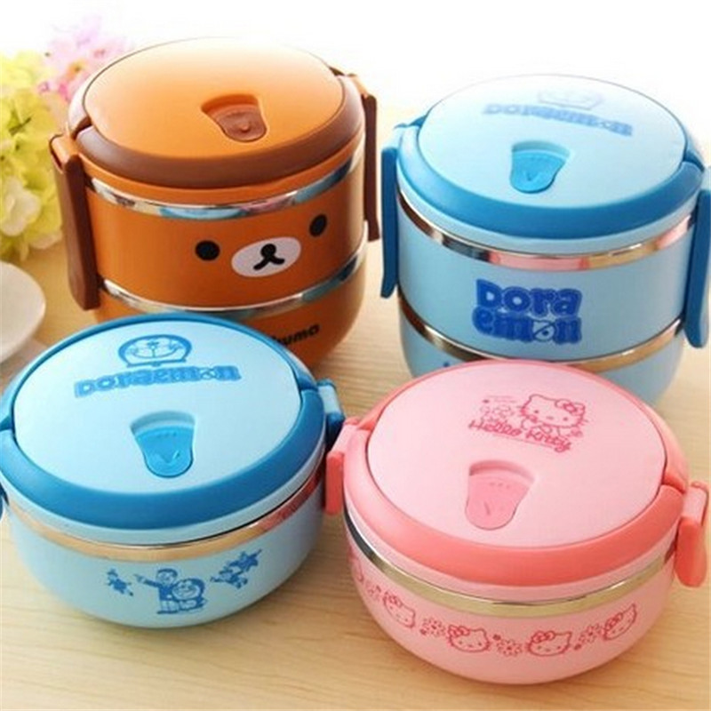 Lunch Box Rilakkuma one Two Layers Thermal Bento Thermos For Food Stainless Steel Insulation Storage Container