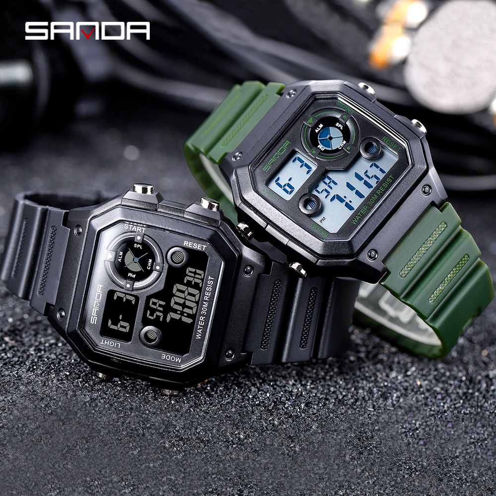 Image 5 - SANDA Brand Men Sports Watches Fashion Chronos Countdown Mens Waterproof LED Digital Watch Man Military Clock Relogio MasculinoDigital Watches   -