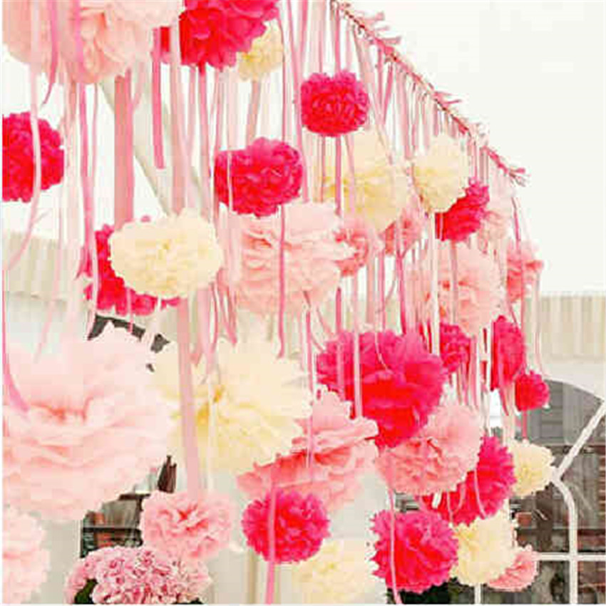 20 25 30cm wedding decoration pom poms artificial flower for Baby shower flower decoration