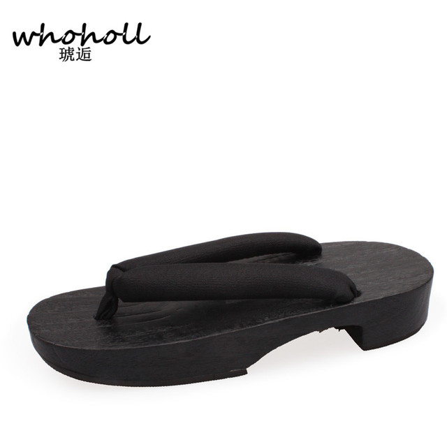 Women flip-flops sandals Summer heel Japanese Geta wooden rubber designer bathroom antiskid slippers cosplay shoes costumes