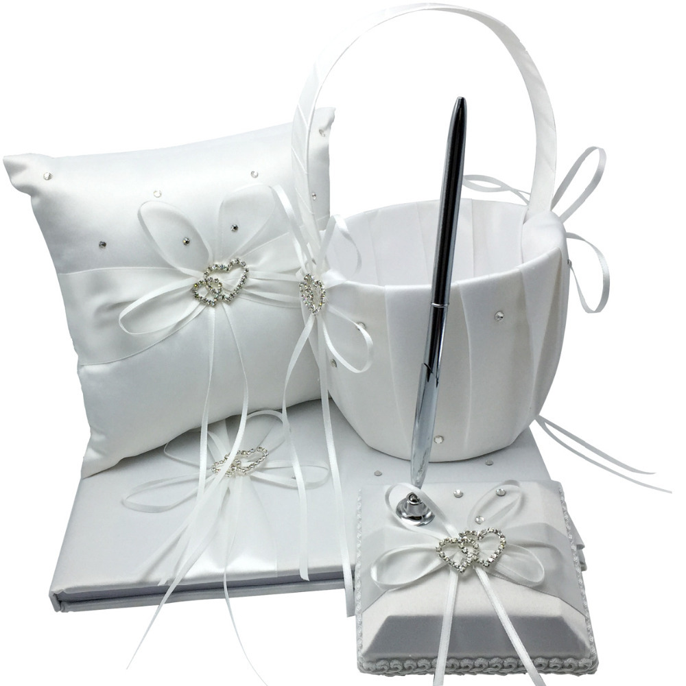 4 pièces/ensemble 5 couleurs décoration de mariage nuptiale Satin anneau oreiller + panier de fleurs + livre d'or + ensemble de stylos produits Casamente - 2