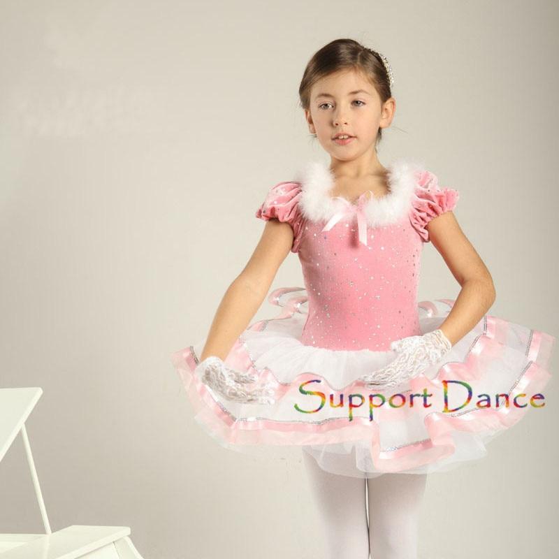 Support Dance Girls Adult Velvet Puff Sleeve Ballet Tutu Dress C5
