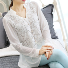 Lady Loose V-neck Sweet Cute Shirts long-sleeved Long Style Women Lace Chiffon blouse&shirt,blusa Female Lace Tops,chiffon TT812
