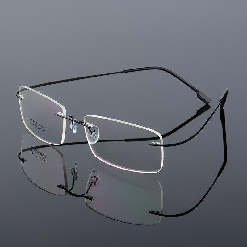b32b427c042cb HD.space ultra light Optical glasses frame Memory Titanium Alloy Rimless  optical Frame for Myopia Prescription Glasses 9 Colors-in Eyewear Frames  from ...