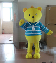 New yellow bear mascot costume top fancy dress christmas gift character kids party costume free shipping