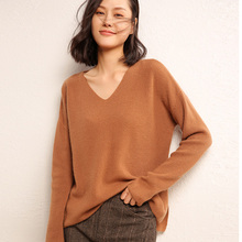 цены Women's Sweaters Loose Style Vneck Pullovers 100% Cashmere Knitting Big Bust Size Jumpers Woman Fashion 5Colors Knitwear clothes