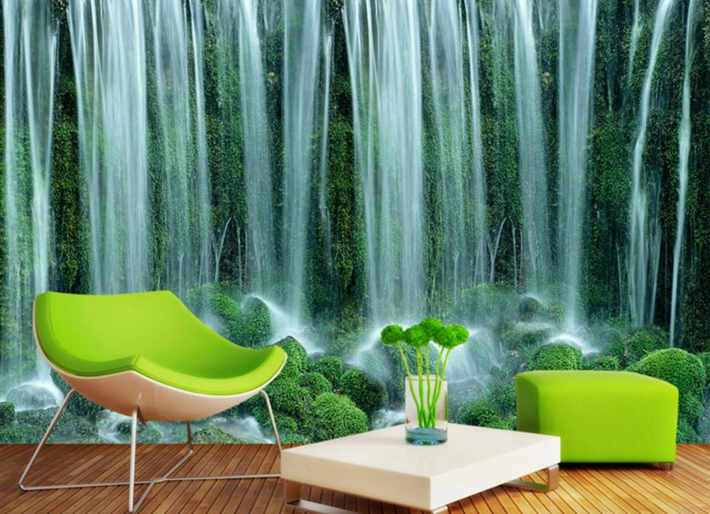 Custom Landscape 3d Photo Wallpaper Waterfalls Stereoscopic Wall Murals Wallpaper For Walls Room Landscape Background Wall