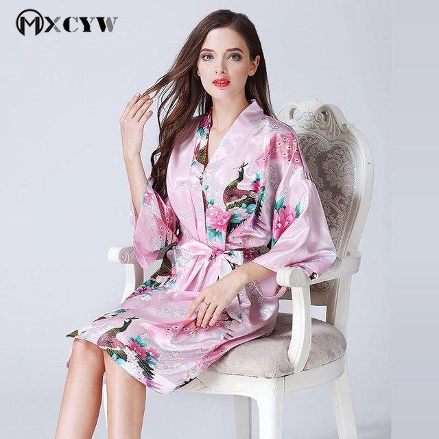 ... Spring Japanese Cardigan WomenS Pajamas Casual Silk Homewear Sexy  Sleepwear Printing Thin Gown V-Neck ... ddee5b079