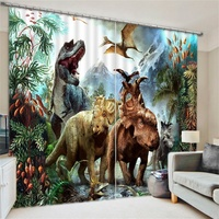 Fancy Animal Print Jurassic Dinosaur 3d Curtains Blackout for Living Room Kids Bedroom Fabric Drapes Short Window French Door