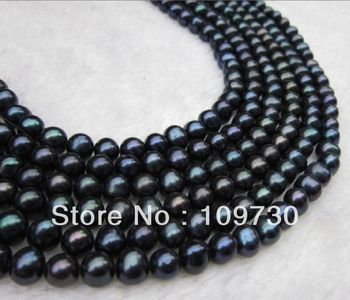 Jewelry 001134 100 inches 8-9mm beautiful Southern Ocean black pearl necklace