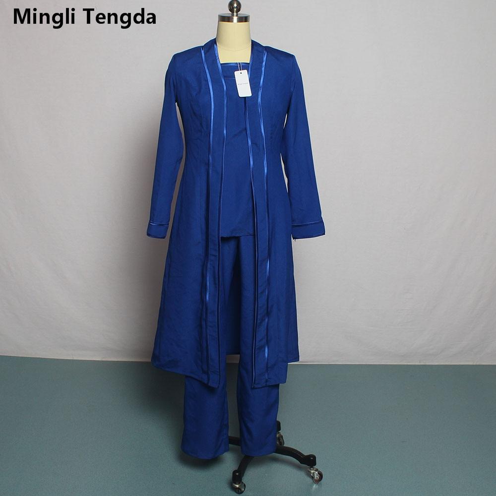 На заказ мать брючные костюмы невесты с длинным жакетом размера плюс/шифон брюки костюм свадьба Vestido De Madrinha - Цвет: Синий