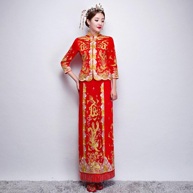 Luxe antique Royal rouge chinois robe de mariée traditionnelle broderie Cheongsam femmes Oriental Dragon Phoenix QiPao S-XXL