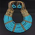 Fashion African Beads Jewelry Set Necklace Set Earrings for Women Multi Layer Blue Gold Plated Jewelry Set Bohemian party