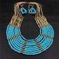 Manera de Los Granos Africanos Set Collar de La Joyería Pendientes de Las Mujeres de Múltiples Capas Azul Plateado Oro de La Joyería de Bohemia del partido