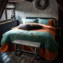 Verde lijado duvet cover set de algodón de flores bordado funda nórdica sábana funda de almohada reina king size bedding set/ropa de cama