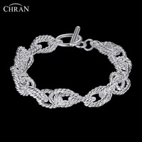 CHRAN Luxury Bridal Accessories Charm Cable Link Chain Friendship Bracelets Elegant Silver Plated Cuff Bracelets For
