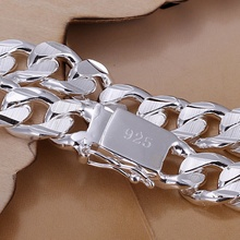 New high-quality WOMEN MEN noble 925 stamp silver plated bracelets fashion jewelry gifts Mens 10MM square nice jewelry Bracelet