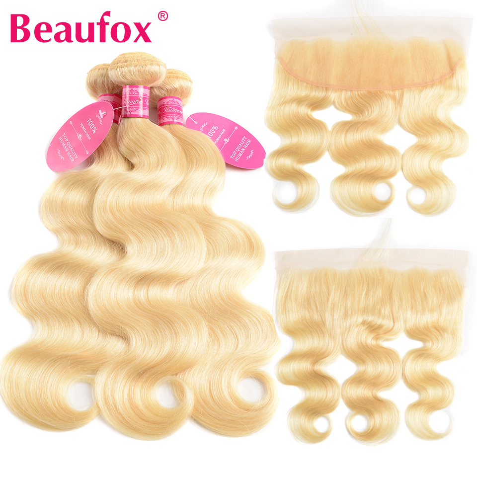 Beaufox 613 Blonde Brazilian Body Wave With Frontal Human Hair Ear to Ear Lace Frontal Closure With Bundles Remy 613 Hair