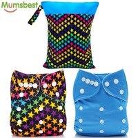 [Mumsbest] 2 шт. тканевые подгузники с 2 вставками из микрофибры + 1 шт. сумка для подгузников (влажный мешок) Моющиеся Многоразовые подгузники