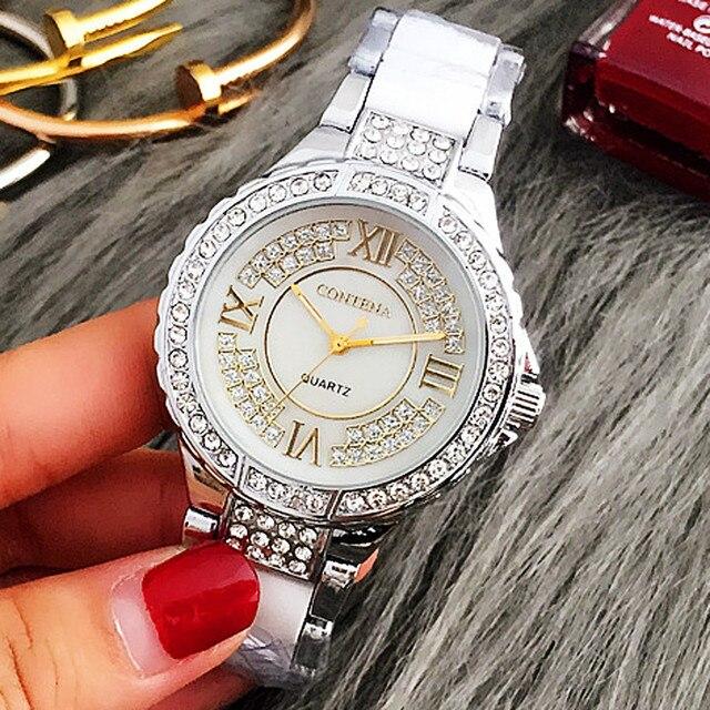 Top Brand Silver Luxury Women Dress Watch Rhinestone Simulated-ceramics Crystal