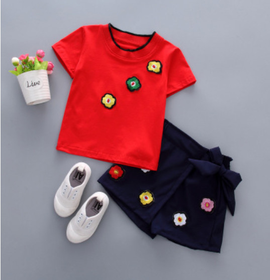 Small or Toddler Child Clothes Units Quick Sleeve Flower T-shirt+Quick Little Child Lady Vogue 2pcs Units Free Sihpping Retail Clothes Units, Low-cost Clothes Units, Small or Toddler Child Clothes...