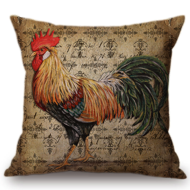 Vintage Rooster Poster Design Sofa Cushion For Home Decoration Retro