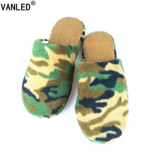 VANLED Winter Home Soft Sole Cotton padded Camouflage Army Green Slippers Indoor Floor Warm Slippers Flat