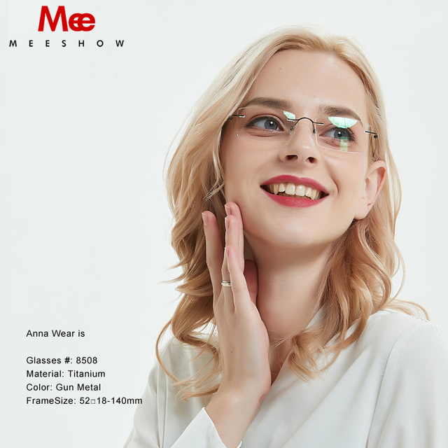 b47782618c Meeshow Rimless Glasses 100%Pure Titanium optical frame with case Eyeglasses  women men Prescription Glasses