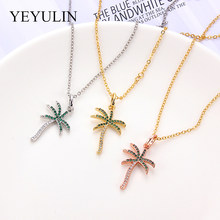 Women Dainty Gold Silver Rose Gold Palm Tree Necklace Copper Rhinestone Coconut Pendant Necklaces Minimalist Plant Jewelry(China)