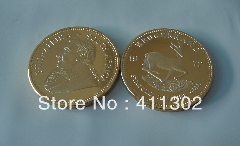 1pcslot 1972 .9999 gold clad South Africa  Krugerrand Replica coin,commemorative  coin