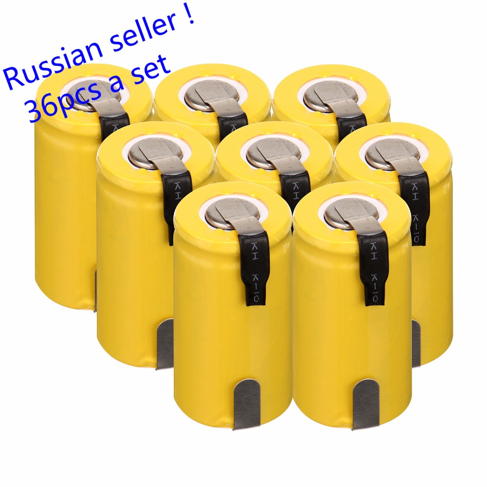 Russian seller! 36 pcs Sub C SC battery 1.2V 1300mAh Ni-Cd NiCd Rechargeable Battery 4.25CM*2.2CM все цены