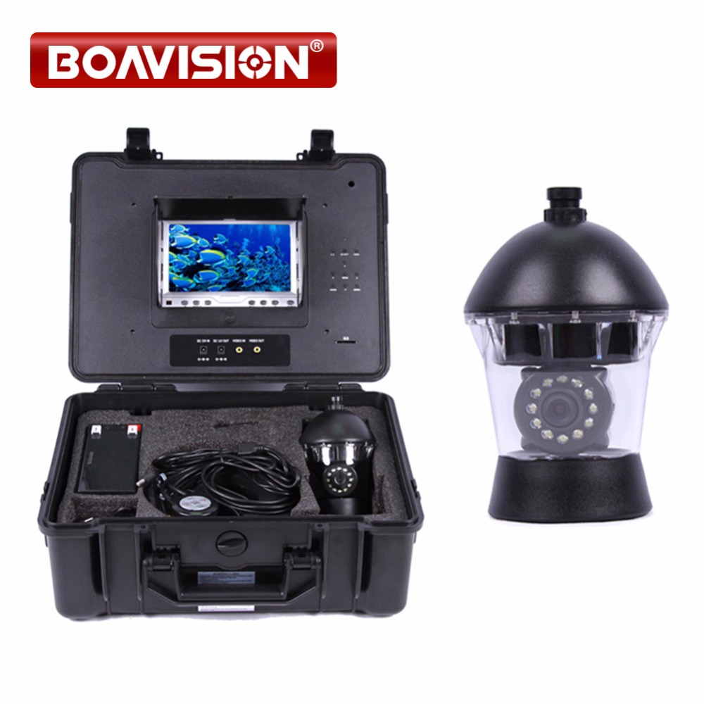 50m Cable Underwater Fishing Camera 12Pcs Led Lights 7 Inch Color LCD DVR System Fish Finder Camera Rotate 360 Degree Up To 16GB