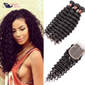 Raw Indian Hair With Closure Deep Wave With Closure 4 Pcs Indian Curly Virgin Hair With Closure Human Hair With Closure