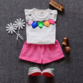 Бесплатная доставка 2016 новый летний детская одежда устанавливает Хлопок рукавов письмо печати новорожденных девочек Подходит 3 6 9 12 18 24 Месяцев A032
