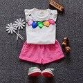 O envio gratuito de 2016 novos conjuntos de roupas de bebê verão de Algodão sem mangas carta impressão meninas do bebê Se Adapte 3 6 9 12 18 24 Meses A032