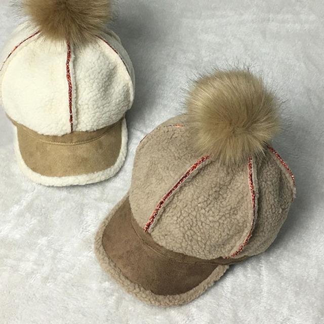 2016 Nova moda feminina destacável chapéu de bola de Cabelo de coelho cashmere patchwork bonés de beisebol feminino