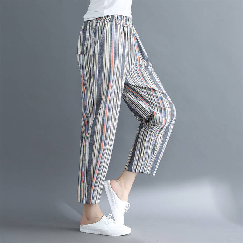Idopy Fashion Womens Harem Pants Cotton Linen Loose Fit Striped Ankle Length Summer Drop Crotch Trousers For Female Outerwear 5