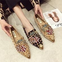 2019 primavera sapatos casaul feminino mules flats deslizamento em mocassins para a mulher sapatos lisos swyivy mules sapatos mulher com strass