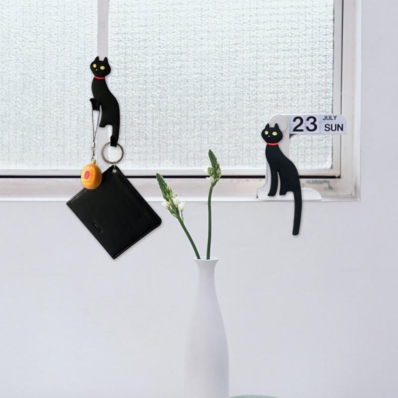 Hot Sale Creative Multifunction Cat Magnetic Wall Mount Keys Hook Refrigerator Sticker Fridge Magnet