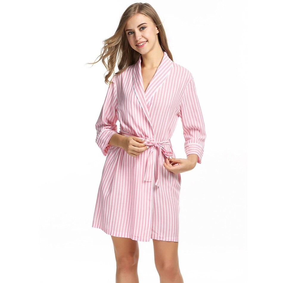 Ekouaer Striped Sleepwear Robe Women\'s Dressing Gown Casual 3/4 ...
