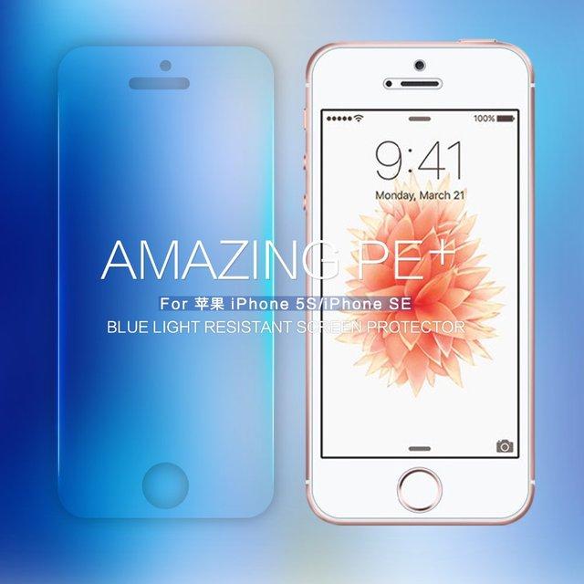 Nillkin Increíble resistente PE + azul claro vidrio templado film protector de pantalla para el iphone 5 SE 5S