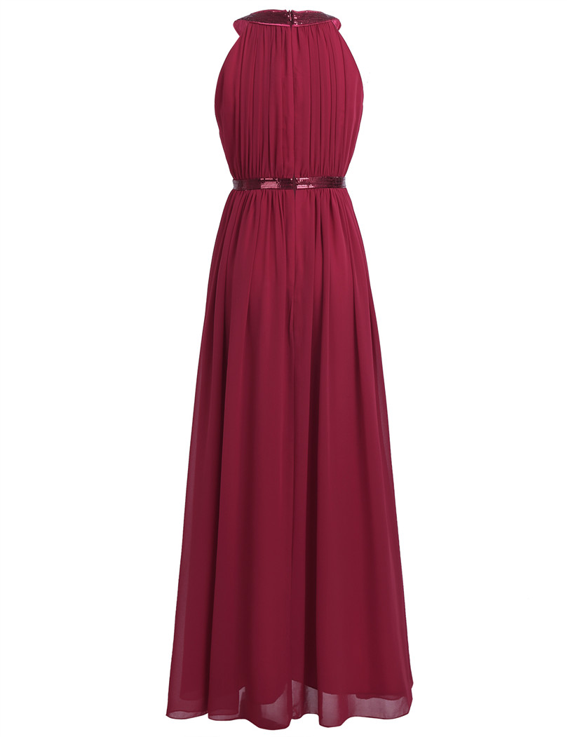 Image 4 - 2018 TiaoBug Fashion Women Adult Chiffon Long Bridesmaid Dresses Women Ladies Halter Bridal Maxi Prom Gown Princess Lace Dresses-in Bridesmaid Dresses from Weddings & Events